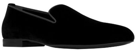 Smoking 15 monogram slipper in black velvet by Saint Laurent