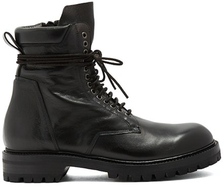 Lace-up creased-leather ankle boots by Rick Owens
